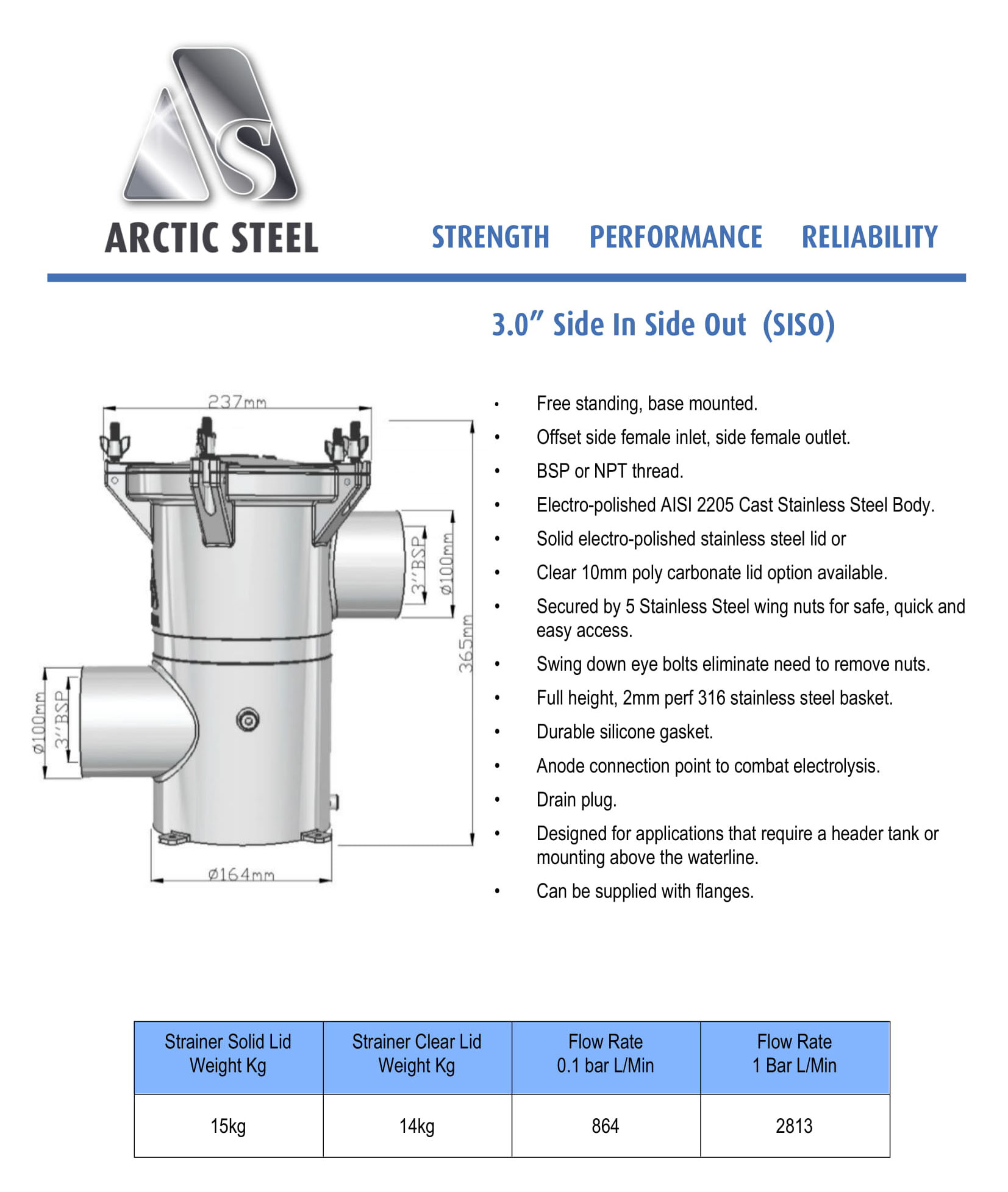 """Arctic Steel Strainers - 3.0"""" Side In Side Out"""