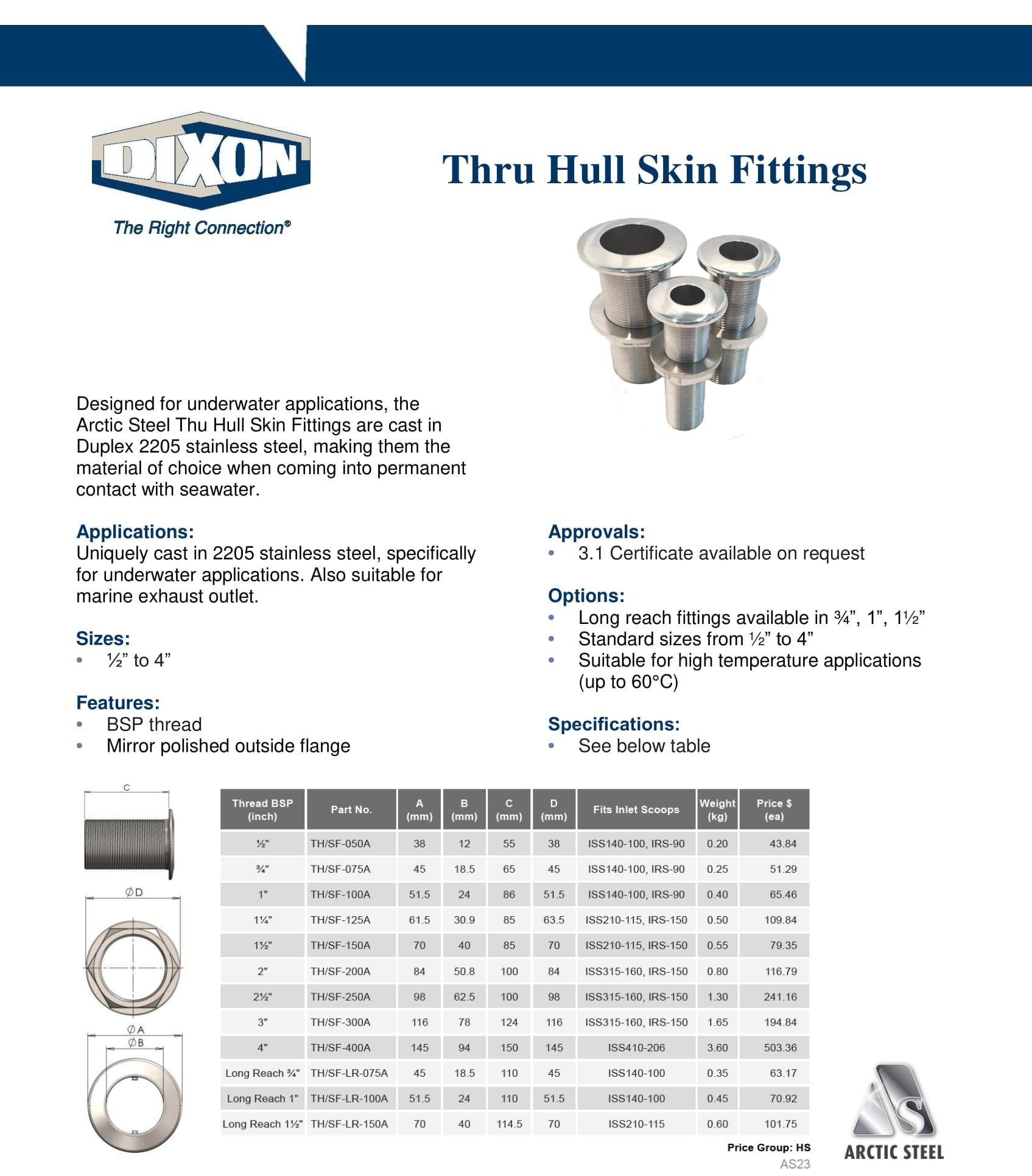 Arctic Steel Strainers - Thru Hull Skin Fittings