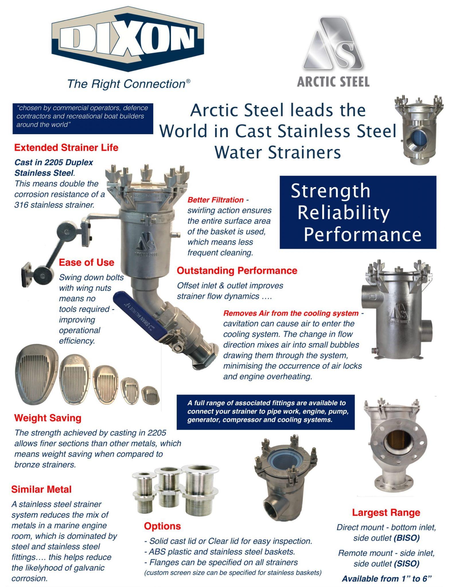 Arctic Steel Strainers - Dixon Features