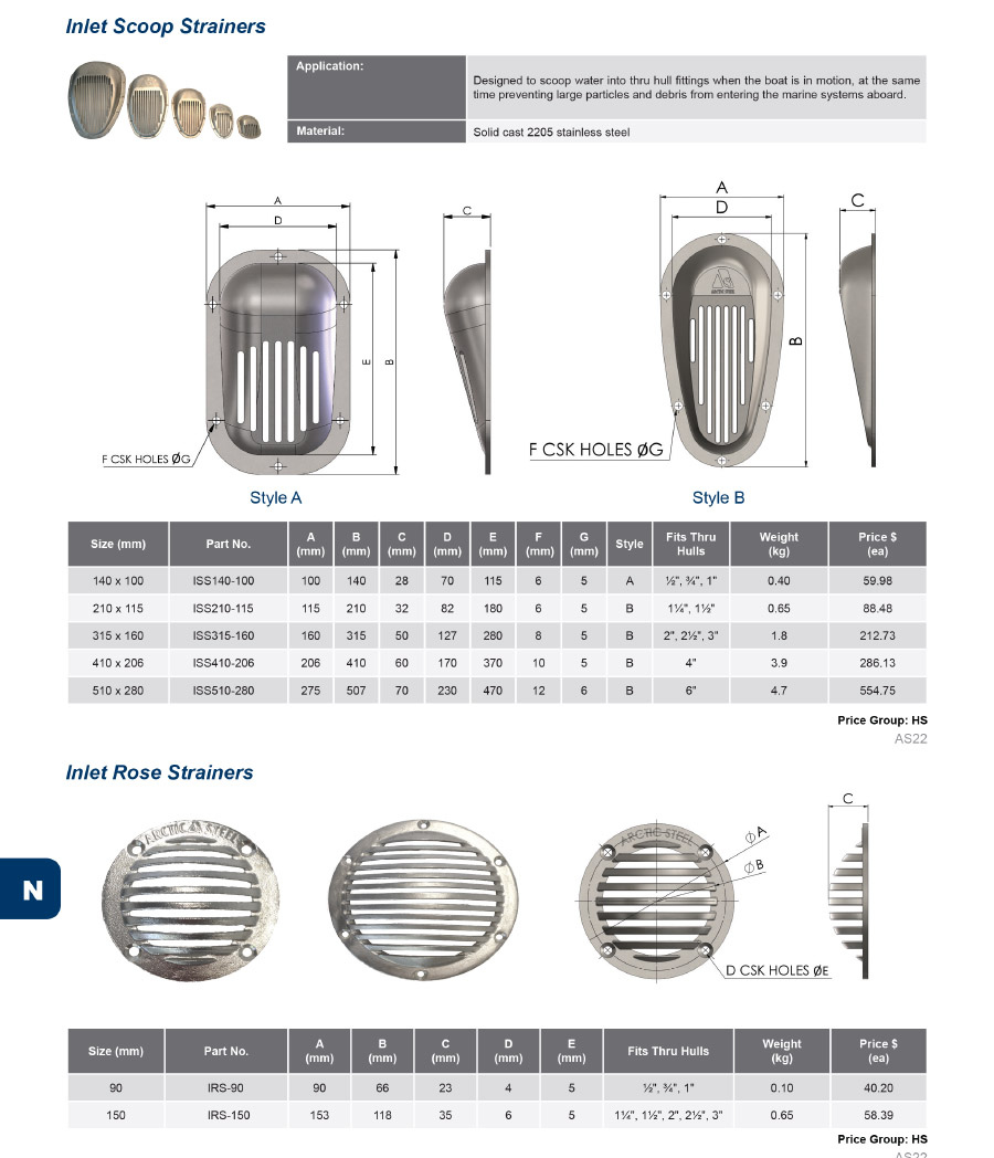 Arctic Steel Strainers - BISO Strainers - Bottom Inlet, Side Outlet